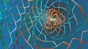Fractalöglasbakgrund med abstrakta former Höjdpunkt specificerad ögla stock video