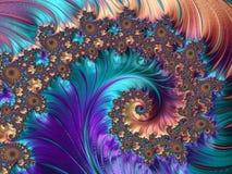 Fractal αφηρημένες σχέδια και μορφές E Σχέδιο Peacock διανυσματική απεικόνιση