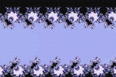 Fractal δαντελλών ανθίζει τη μορφή με τη γραμμή λωρίδων επιγραφών στο μπλε κρητιδογραφιών Στοκ εικόνα με δικαίωμα ελεύθερης χρήσης
