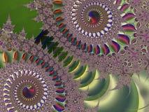 Fractal: Πράσινα Snowflakes σε ένα χρωματισμένο υπόβαθρο στοκ εικόνες