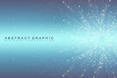 Fractal στοιχείο με τη συνδεδεμένα γραμμή και τα σημεία Εικονικές ενώσεις επικοινωνίας ή μορίων υποβάθρου παγκόσμιο δίκτυο Στοκ Φωτογραφία