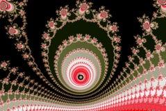 Fractal υπερφυσικοί κύκλοι σε πράσινο και grenadine Στοκ Φωτογραφίες