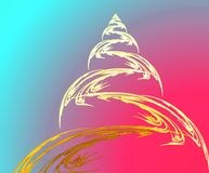 Fractal χριστουγεννιάτικο δέντρο και σφαίρα στοκ εικόνες