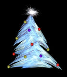 Fractal abstract. Christmas tree under snow (with star and decorations stock illustration