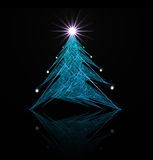 Fractal abstract. Christmas tree (with star and decorations stock illustration