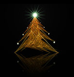 Fractal abstract. Christmas tree (with star and decorations vector illustration