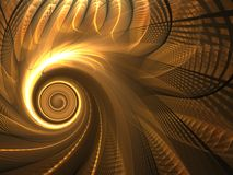 Fractal Abstract Background. Golden spinning weave design (computer generated, fractal abstract background Stock Photography