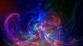 Fractal abstract background in violet and blue color on black ba. Ckground. Illustration Royalty Free Stock Photo