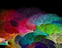 Fractal abstract colorful rainbow wave on black backgr. Beautiful fractal abstract colorful rainbow wave on black background like a kaleidoscope Stock Images