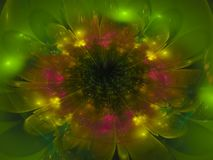 Fractal abstract flower beautiful dream color fantasy effect dark wallpaper blossom unique dynamic. Fractal abstract flower beautiful blossom, unique dynamic Royalty Free Stock Image