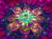 Fractal abstract patroon, mooie grafische de krulbloem van het ontwerpmandewerk creatieve kleurrijke gevoelige reclame stock illustratie