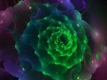 Fractal abstract patroon, mooie krulbloem kleurrijke gevoelige reclame Stock Afbeelding