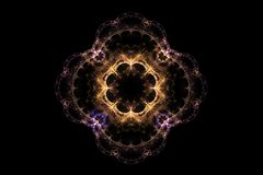 Fractal abstract pattern. In the form of a flower with patterns of yellow blue purple lines royalty free illustration