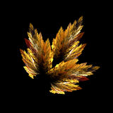 Fractal abstraction, autumn leaf on black background Royalty Free Stock Images