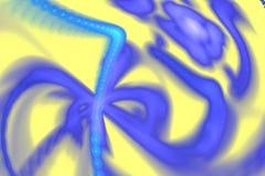Fractal abstracto con las curvas borrosas caóticas en amarillo Imagenes de archivo