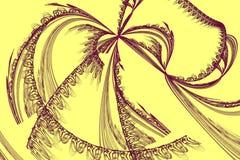 Fractal abstracto con las curvas caóticas en amarillo Imagen de archivo