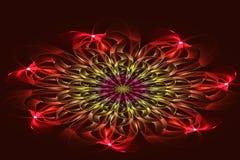 Fractal abstracto, flor roja en fondo oscuro Imagen de archivo