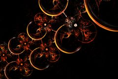 Fractal abstracto que brilla intensamente cadena esférica amarilla y roja Fotos de archivo
