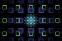 Fractal abstrato da tecnologia com quadrados verdes de néon de incandescência fotografia de stock royalty free