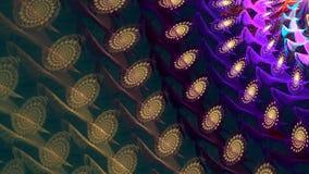 Fractal achtergrond Donkere langzame spiraal Hoog gedetailleerde lijn stock footage