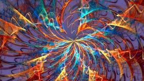 Fractal achtergrond met abstracte brandspiraal Hoog gedetailleerde lijn stock video