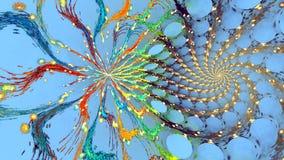 Fractal achtergrond met abstracte broodje gebogen vormen Hoog gedetailleerde lijn stock videobeelden
