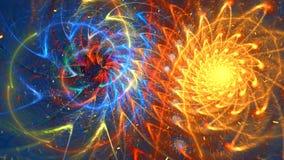 Fractal achtergrond met abstracte broodjes spiraalvormige vormen Hoog gedetailleerde lijn stock footage