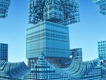 Fractal background, abstract 3D illustration. Fantastic city, 3D rendering, fractal abstract design Stock Illustration