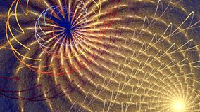 Fractal background with abstract roll curved shapes. High detailed loop. A pattern from an ever-changing solar spiral with thin elements. Loop stock footage