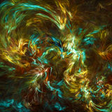 Fractal. Background with yellow and cyan colors Royalty Free Stock Photo