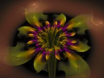 Fractal bloem abstract effect, het overladen decor toekomstige artistieke kleurrijk van het behang etherische creatieve ontwerp,  Stock Foto's