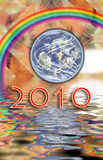 Fractal, calendar 2010 water Earth, rainbow Royalty Free Stock Photo