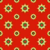 Fractal Christmas stars on red, raster seamless pattern. Unusual seamless Christmas design with fractal ornament looks like stars or medals Royalty Free Stock Images