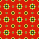 Fractal Christmas stars on red, raster seamless pattern. Unusual seamless Christmas design with fractal ornament looks like stars or medals Stock Images