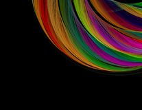 Fractal colorful rainbow arc on a black background, or Stock Image