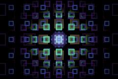 Fractal com quadrados azuis e roxos de néon fotos de stock