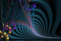 Fractal computer generated illustration of sophisticated spiral. Abstract background illustration of fractal multicolored waves Stock Illustration