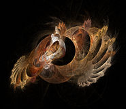Fractal crustacean. Bronze nautilus spiral with white emerging form Stock Photo