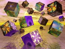 Fractal cubes. Surreal image of cubes with fractal pictures on them Stock Photo