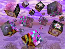 Fractal cubes II. Surreal image of cubes with fractal pictures on them Stock Photos