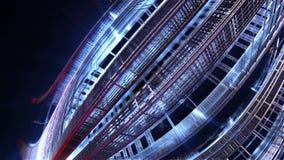 fractal 3d av den framtida staden Utrymmeskepp från metallbeståndsdelar stock illustrationer
