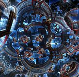 fractal 3d av den framtida staden Utrymmeskepp från metallbeståndsdelar Royaltyfri Fotografi