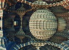 Fractal 3D background, abstract 3D illustration, element for design. Fantastic city, 3D rendering, fractal abstract design stock illustration