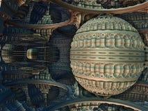 Fractal 3D background, abstract 3D illustration, element for design. Fantastic city, 3D rendering, fractal abstract design royalty free illustration