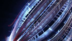 fractal 3d de la ciudad futura Vehículo espacial de elementos del metal stock de ilustración