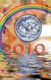 Fractal, de Aarde van het kalender 2010 water, regenboog stock illustratie