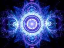 Fractal de incandescência azul da mandala Fotografia de Stock Royalty Free