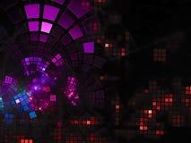 Fractal dekoraci abstrakcjonistyczna cyfrowa spływowa błyszcząca technologia odpłaca się cyfrowy, dyskoteka, biznes, reklama, obraz stock