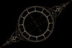 Fractal delicate bracelet on a black background. Fractal fractal abstraction Vintage round pattern in the form of a steering wheel for a ship with divergent vector illustration