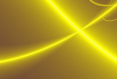 Fractal design. Abstract computer generated background - yellow ribbons on dark brown background Stock Photos